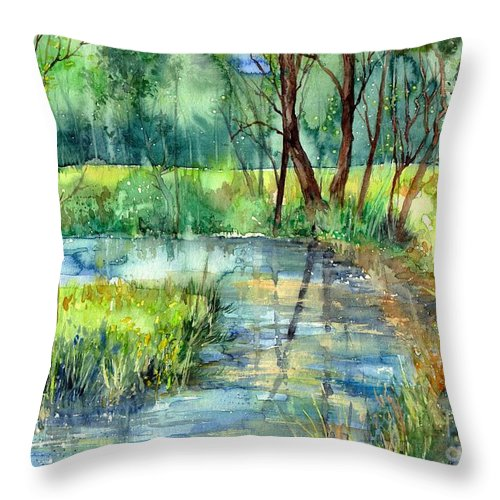 Eye In The Sky Throw Pillow featuring the painting Eye In The Sky by Suzann Sines