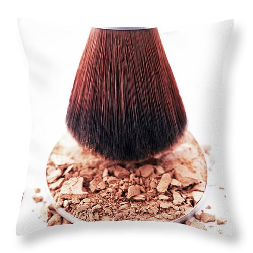 White Background Throw Pillow featuring the photograph Eyeshadow Brush Above Disc Of Eyeshadow by Martin Poole