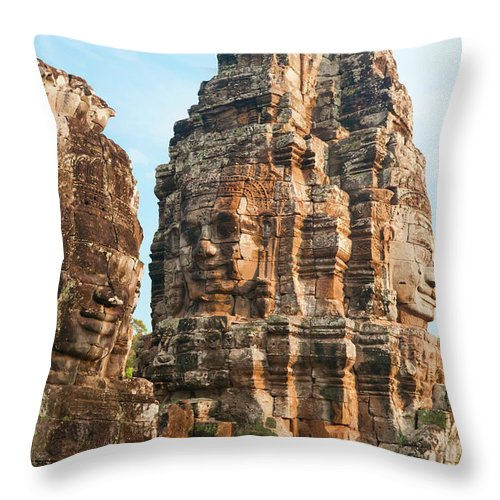 Cambodian Culture Throw Pillow featuring the photograph Faces On Bayon Temple Cambodia by Leezsnow