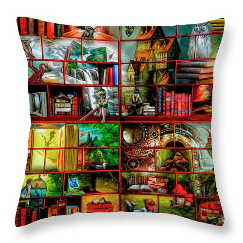 Dragons Throw Pillow featuring the digital art Fairytales by Debra and Dave Vanderlaan