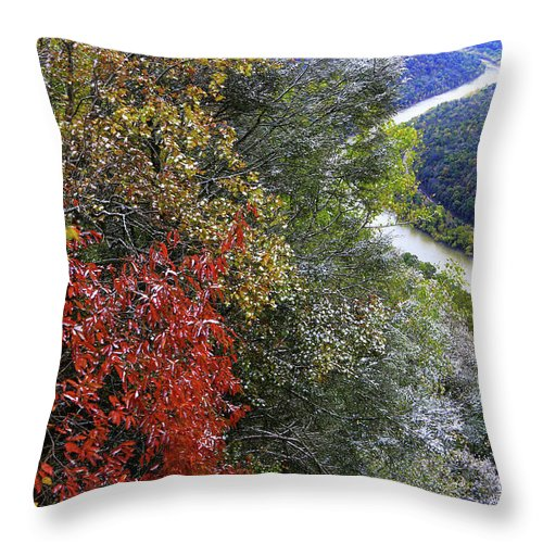 Autumn Throw Pillow featuring the photograph Fall Meets Winter by SC Shank