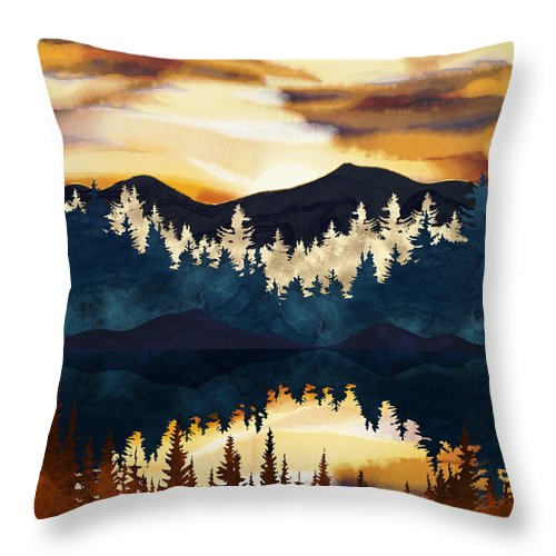 Fall Throw Pillow featuring the digital art Fall Sunset by Spacefrog Designs