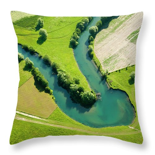 Scenics Throw Pillow featuring the photograph Farmland Patchwork, Aerial View by Vpopovic