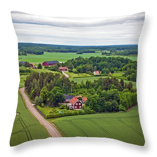 Scenics Throw Pillow featuring the photograph Farms And Fields In Sweden North Europe by Pavliha