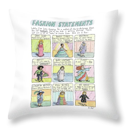 Fashion Statements Throw Pillow featuring the drawing Fashion Statements by Roz Chast