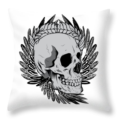 Halloween Throw Pillow featuring the digital art Feathered Skull by Passion Loft