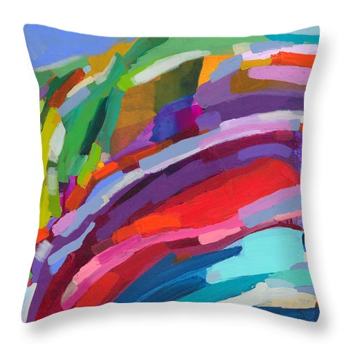 Abstract Throw Pillow featuring the painting Felicity by Claire Desjardins