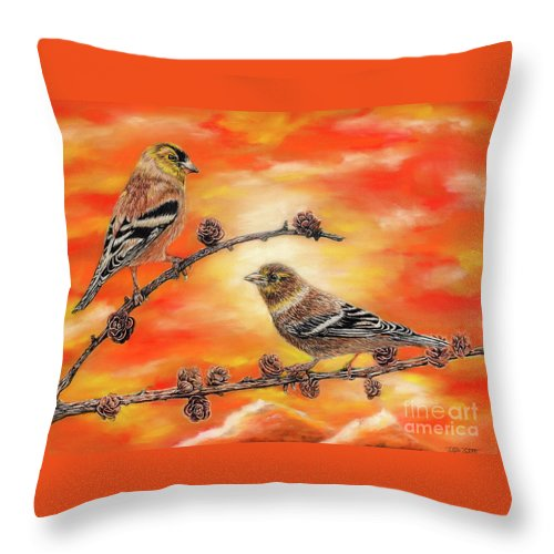 American Goldfinch Throw Pillow featuring the painting Femal American Goldfinch by Peter Piatt