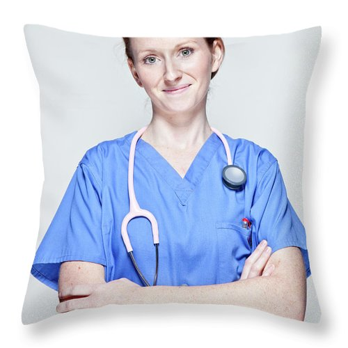 People Throw Pillow featuring the photograph Female Doctor by James Whitaker