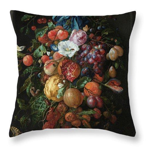 Jan Davidsz De Heem Throw Pillow featuring the painting Festoon Of Fruit And Flowers, 1670 by Jan Davidsz de Heem