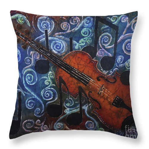 Fiddle Throw Pillow featuring the painting Fiddle 1 by Sue Duda