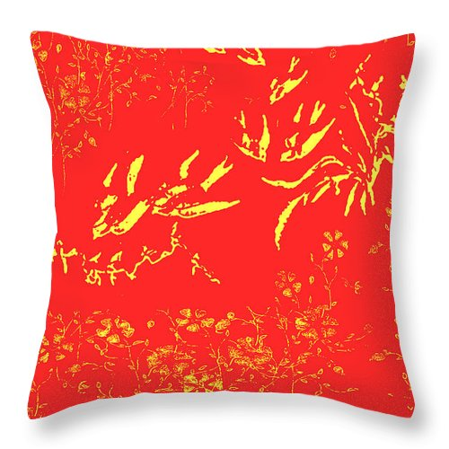 Fire Throw Pillow featuring the painting Fire Birds by Belinda Landtroop
