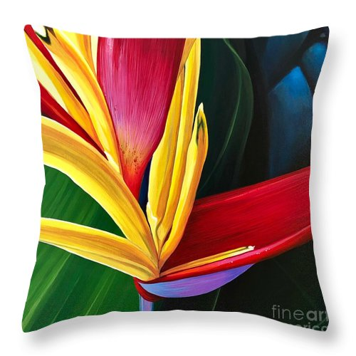 Heliconia Plant Throw Pillow featuring the painting Fire In The Shadows by Hunter Jay