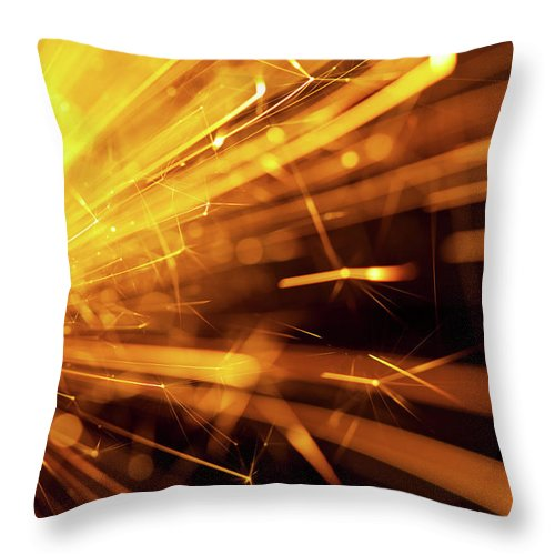 Funky Throw Pillow featuring the photograph Fire Sparkler by Nikada