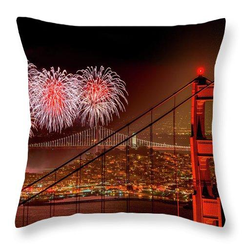 San Francisco Throw Pillow featuring the photograph Firework At San Francisco, California by Spondylolithesis
