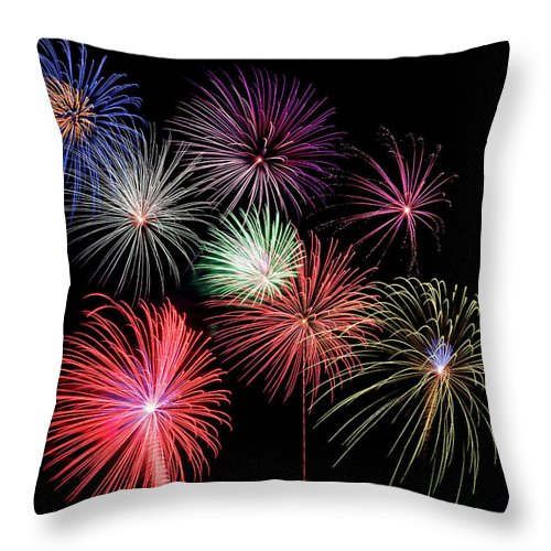 Firework Display Throw Pillow featuring the photograph Fireworks by Michael Parrish Photography