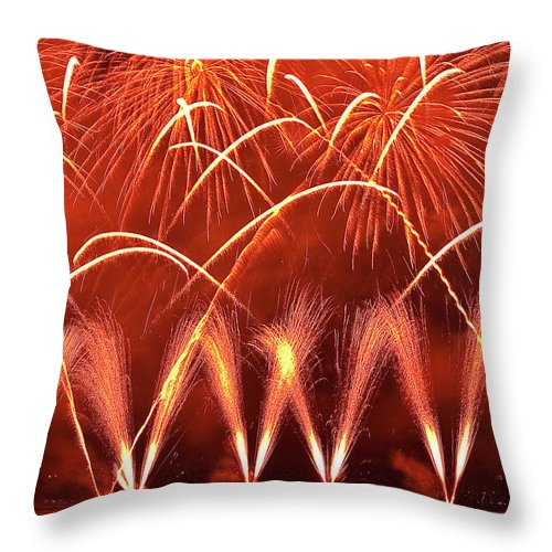 Firework Display Throw Pillow featuring the photograph Fireworks Over West Lake, Hangzhou by William Yu Photography