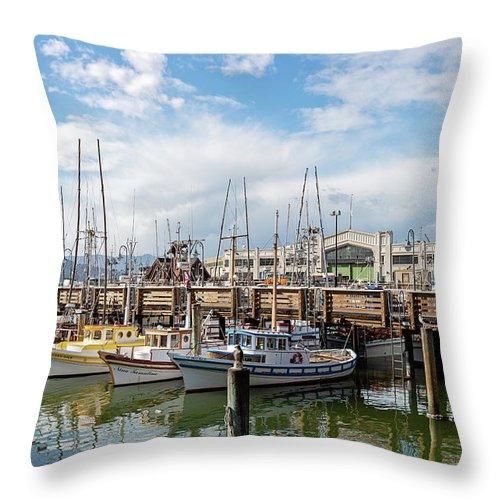 San Francisco Throw Pillow featuring the photograph Fisherman's Wharf San Francisco California by Melanie Alexandra Price