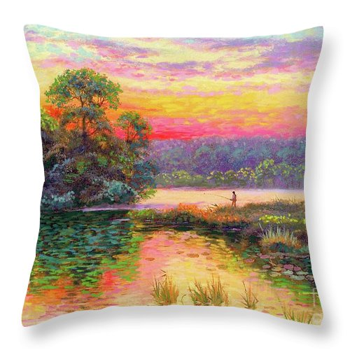 Sunset Throw Pillow featuring the painting Fishing In Evening Glow by Jane Small