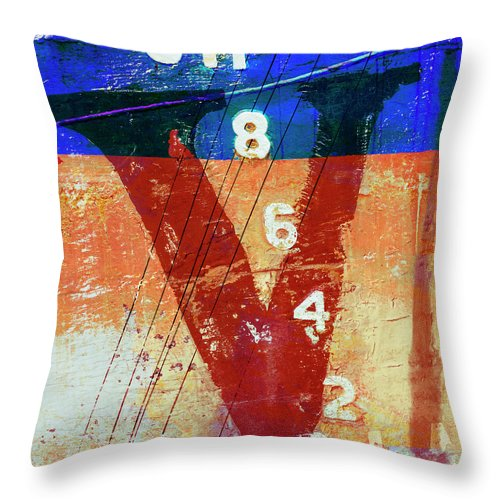 Letter Throw Pillow featuring the mixed media Fishing Vessel Vivian Astoria Oregon by Carol Leigh