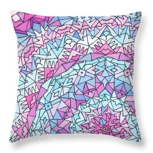 Mandala Throw Pillow featuring the digital art Comfortably Cosmic, In Lavendar by James Fryer