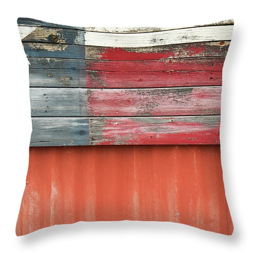 Wood Throw Pillow featuring the photograph Flag Of Texas by Thad