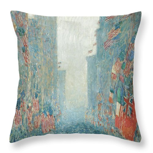 Hassam Throw Pillow featuring the painting Flags, Afternoon On The Avenue, 1917 by Childe Hassam