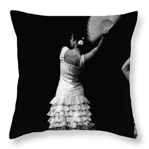 Ballet Dancer Throw Pillow featuring the photograph Flamenco Lace Fan by T-immagini