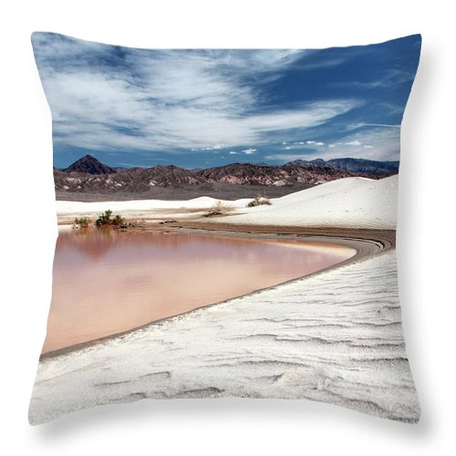 Sand Dune Throw Pillow featuring the photograph Flooded Dunes At Death Valley National by Gary Koutsoubis