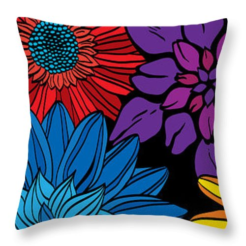 Flora Throw Pillow featuring the drawing Floral by Fernando Trinkenreich