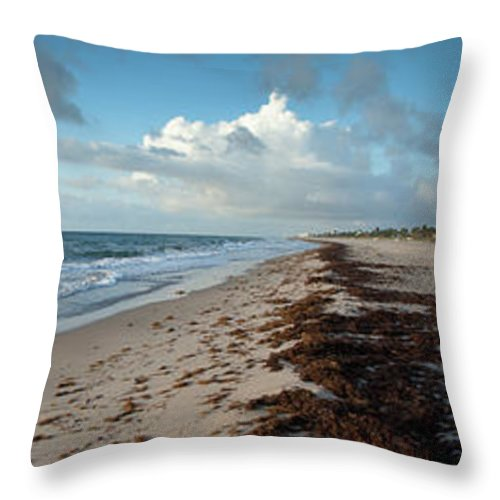 Scenics Throw Pillow featuring the photograph Florida Beach With Gentle Waves And by Drnadig