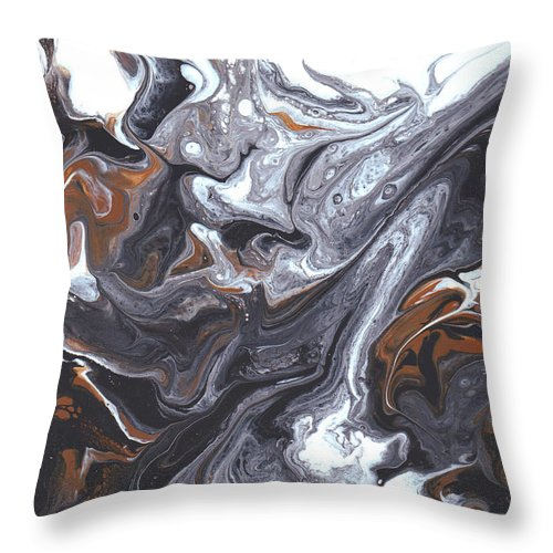 Abstract Flow Miami Florida Fl Bright Vibrant Colorful Painting Black White Art Throw Pillow featuring the painting Flow 005 by Nicole Chambers