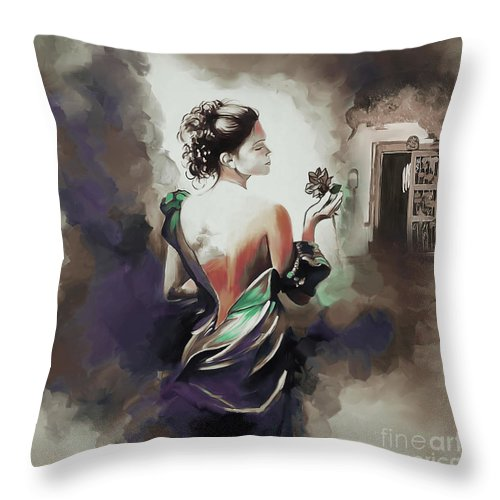 Ance Throw Pillow featuring the painting Flower In Hand by Gull G