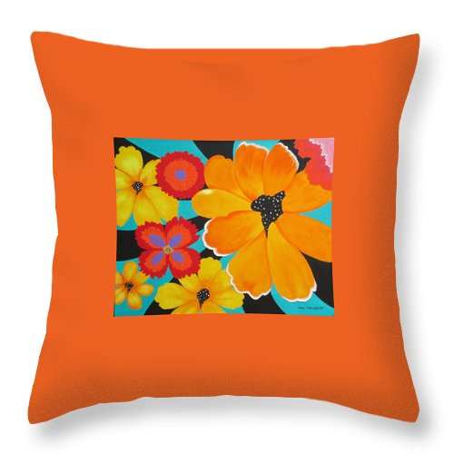 Whimsicle Flowers Throw Pillow featuring the painting Flower Power by Carol Sabo