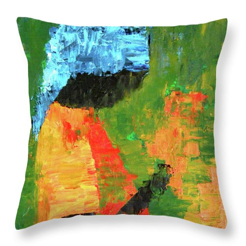 Woman Throw Pillow featuring the painting Flowers In Hand by Patricia Brintle