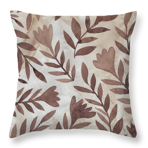 Brown Throw Pillow featuring the painting Flowing Flowers by Elaine Jackson