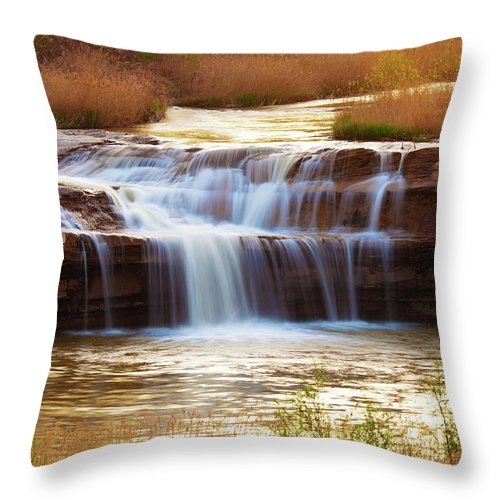 Scenics Throw Pillow featuring the photograph Flowing Water On The Yellow Rock by Xenotar