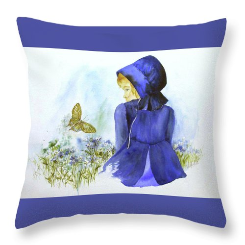 Child Throw Pillow featuring the painting Fly, Butterfly, Fly by Lois Mountz