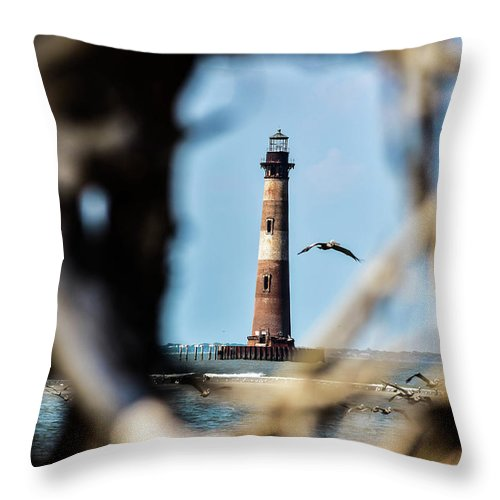 Lighthouse Throw Pillow featuring the photograph Fly By by Leslie and Mitch Anderson