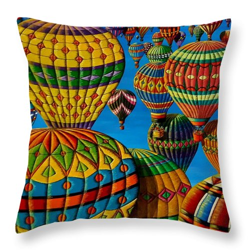 Hot-air Balloons Throw Pillow featuring the painting Flying Colours by Donna L Byers
