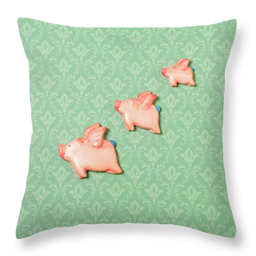 Disbelief Throw Pillow featuring the photograph Flying Pig Ornaments On Wallpapered by Peter Dazeley