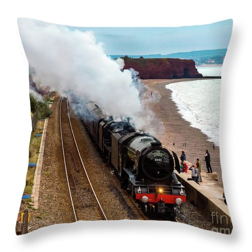 Black 5 Throw Pillow featuring the photograph Flying Scotsman On An Evening Run by Paul Martin