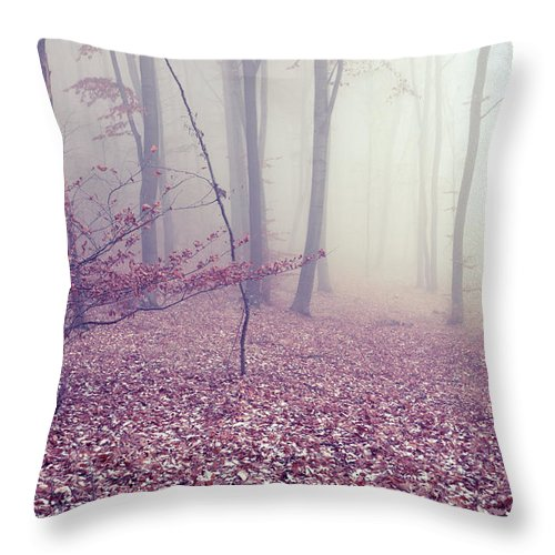Spooky Throw Pillow featuring the photograph Fog by Floriana