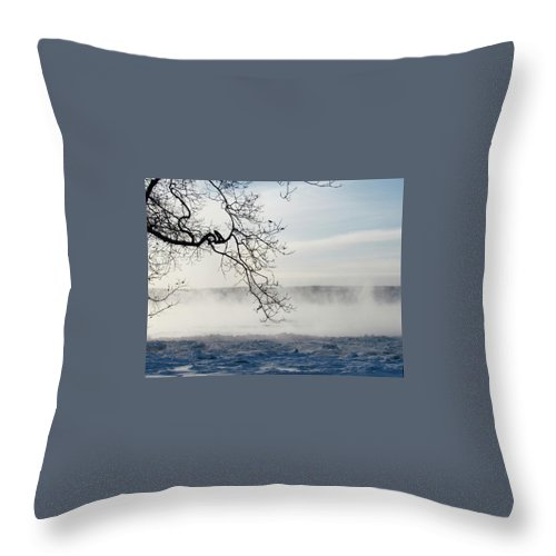 Throw Pillow featuring the photograph Fog Over The River by Kate Servais
