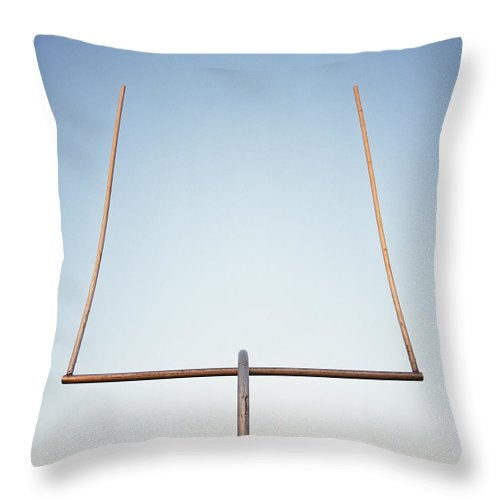 Goal Throw Pillow featuring the photograph Football Goal Post by Mike Powell