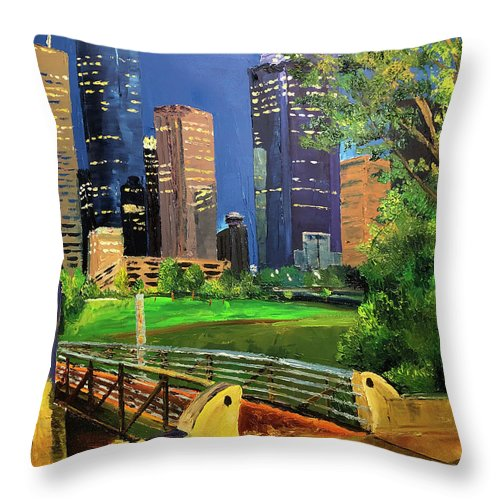 Houston Throw Pillow featuring the painting Footbridge At Buffalo Bayou by Lauren Luna