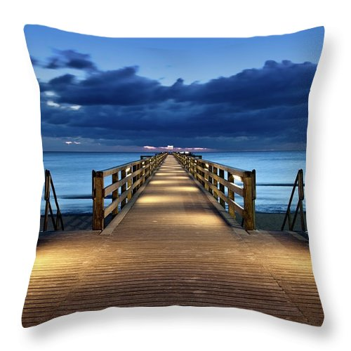 Water's Edge Throw Pillow featuring the photograph Footbridge by Bertlmann