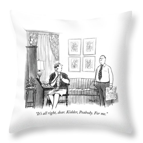"""it's All Right Throw Pillow featuring the drawing For Me by Charles Saxon"