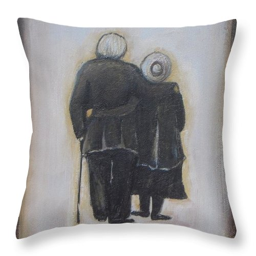 Abstract Throw Pillow featuring the painting Forever In Love by Vesna Antic
