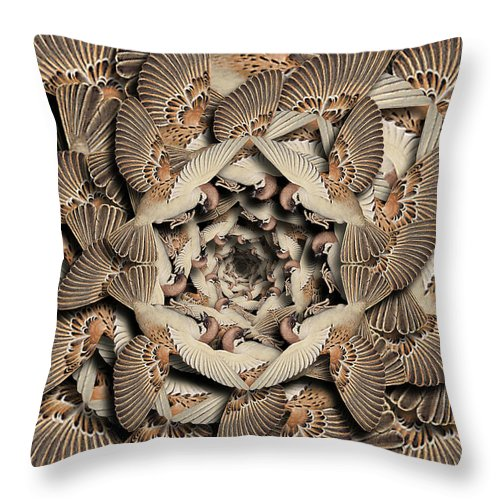 Bird Throw Pillow featuring the digital art Forms of Nature #16 by Kenneth Rougeau